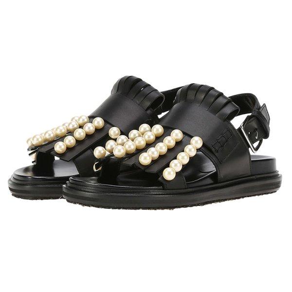 画像1: women's flat leather fringed pearls sandals  slippersパール&フリンジレザー本革サンダルスリッパサンダル  (1)