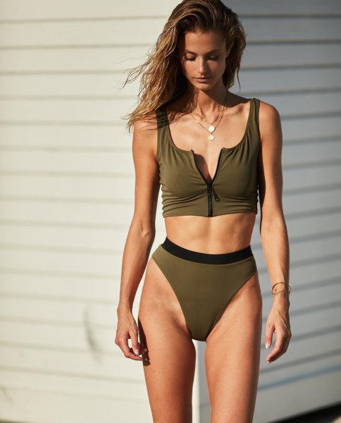 画像1:  Bikini  zipper sexy Swimwearブラジリアンジップビキニ スウィムスーツ水着 (1)
