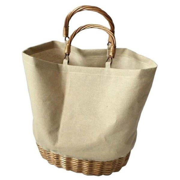 画像1: Straw canvas stitching bag bag キャンバス&ストローコンビトートバッグ  (1)
