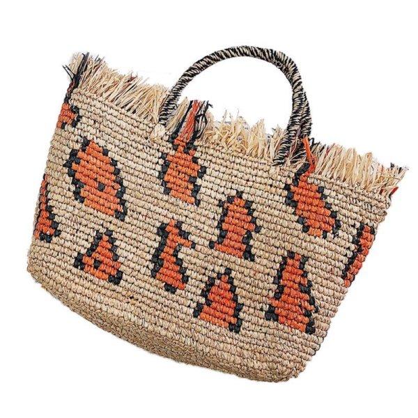 画像1:  leopard woven  Lafite crochet  bag レオパード籠 かごトートバック (1)