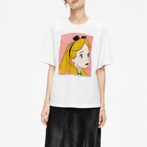 画像1: Alice print loose short-sleeved t-shirt T-shirt  アリスプリントラウンドネック半袖Tシャツ (1)