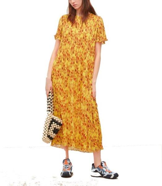 画像1: women'sMedium long chiffon flower print small pleated dress  膝下丈フローラルロングドレス ワンピース (1)