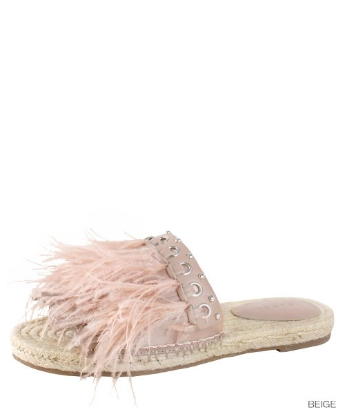 画像1: women's fairy ostrich hairy numb grass flat fisherman slippers sandals フェザー羽付エスパドリーユサンダルスリッパ (1)