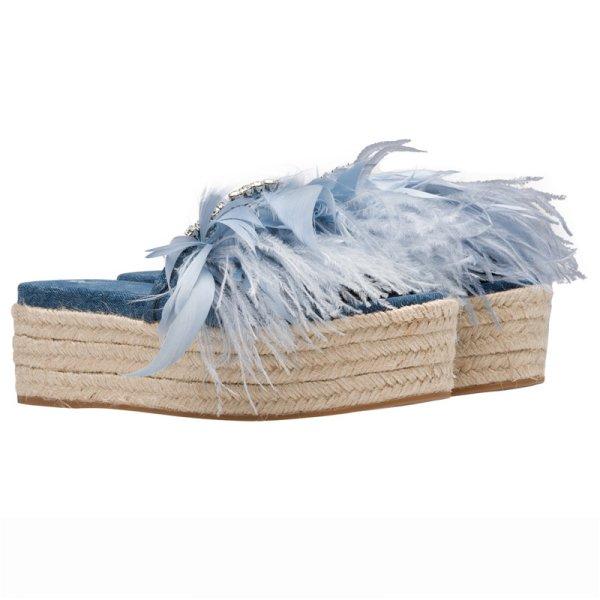 画像1: women's denim rhinestone sponge cake straw feather slippers デニム&リアルフェザー&ビジュー付エスパドリーユフラット厚底サンダル スリッパ (1)