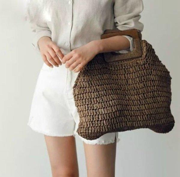 画像1:  woman simple large capacity portable hand-woven bag シンプルトート セカンド籠 かごバック (1)