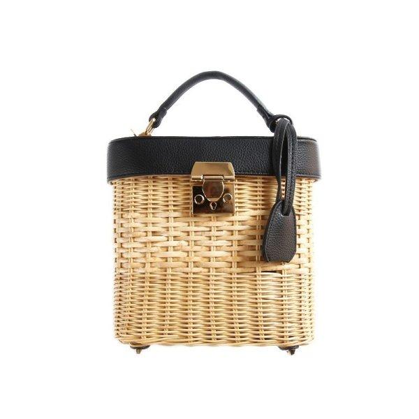 画像1:  woman Handmade rattan  straw handbag woven Messenger bag handbag beach bamboo bag  レザーバケットかごバック (1)