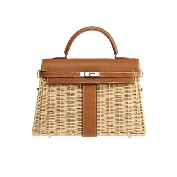 画像1:  woman Handmade rattan  straw handbag woven bag シンプルトート セカンド籠 かごバック (1)