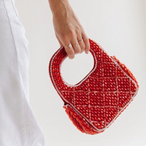 画像1:  woman  Handmade Beaded Small Tote Handbagハンドメイドビーズトート パーティーバック (1)