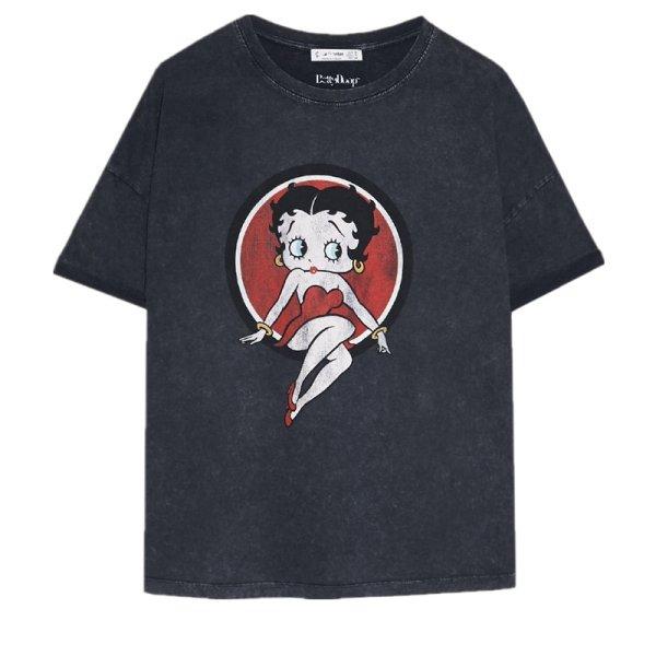 画像1: Betty doll T-shirt black short-sleeved ベティープリントブラックラウンドネック半袖Tシャツ (1)