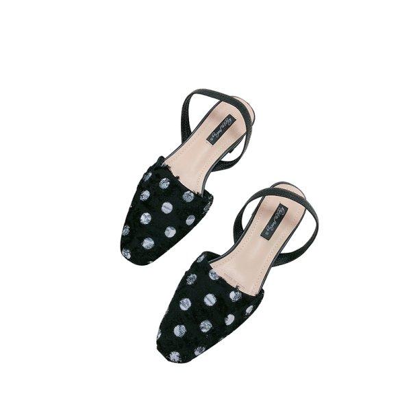 画像1: women's Dot half flat pumps sandals shoesドット水玉バックストラップパンプス サンダル (1)