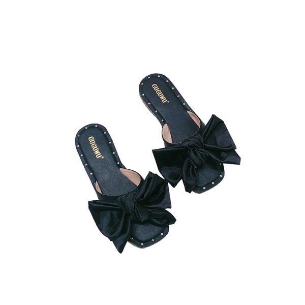 画像1: women's rivet bow flat-bottom   sandals slippersサテンリボン 付きフラットサンダル スリッパ シューズ・靴 サンダルレディース 女性用 シューズ ビーチ (1)