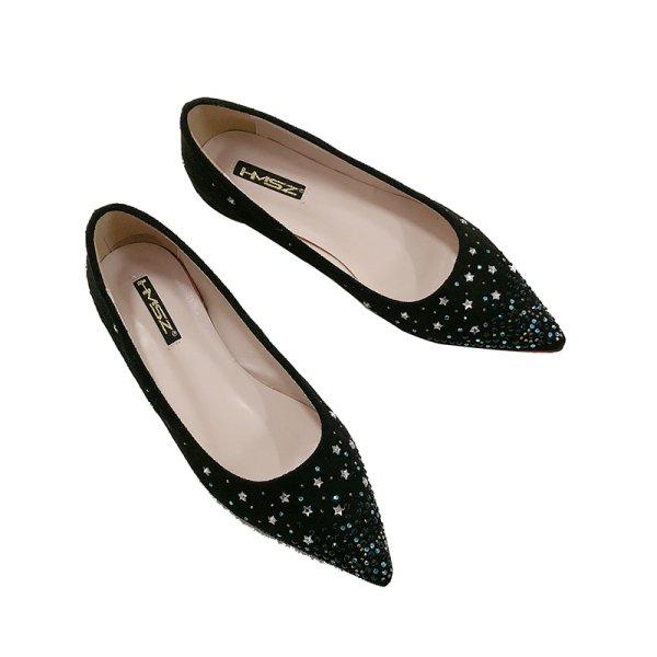 画像1: women's pointed rhinestone flat pumps sandals shoesra スターラインストーンフラットパンプス サンダル (1)