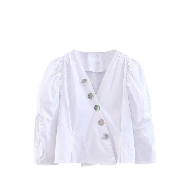 画像1: shell buckle white shirt female puff sleeve shirtシェルバックルホワイトパフスリーブシャツ ブラウス  (1)