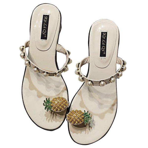 画像1: Women's pineapple toe pearl net  French sandals Flat Sandals パイナップルパールトゥ&パール付きサンダル (1)