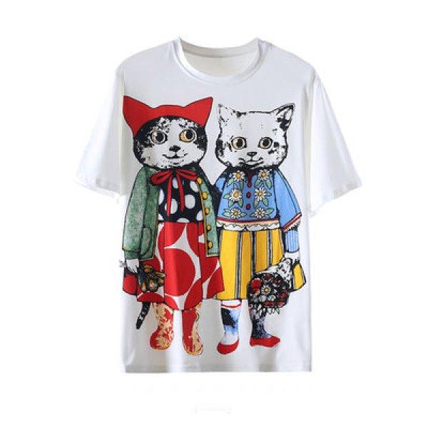 画像1: cat  Print loose T-shirt  キャット 猫プリントラウンドネックルーズ丈半袖Tシャツ チュニック (1)