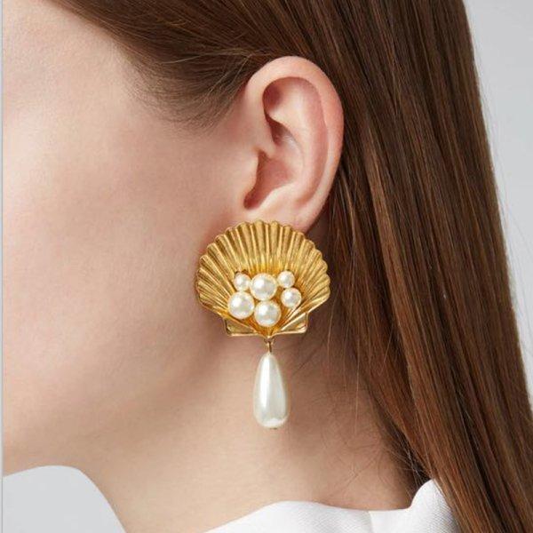 画像1:  shell imitation pearl earrings シェル&パールピアス イヤリング (1)