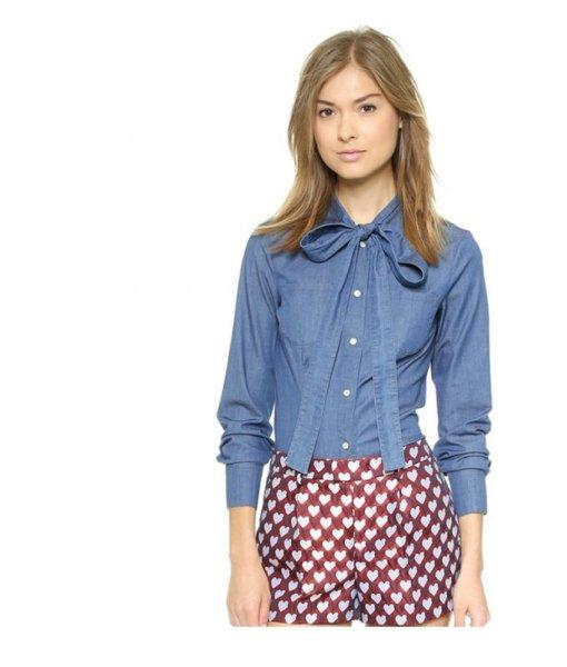 画像1: women's  bow neckline slim denim shirt  デニム インディゴボウタイスリムシャツ ブラウス (1)