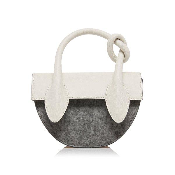 画像1: small semi-circular shoulder tote 2way bag handbags 半円型スモールショルダー トートレザーハンドストラップバッグ   (1)