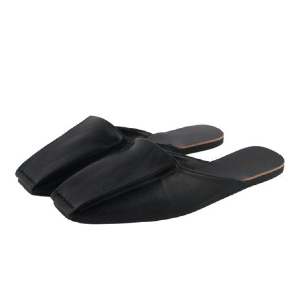 画像1: Women'ssquare head flat slippers outside wearing simple wild Baotou sandalsレザーフラットミュール サンダルスリッパ シューズ・靴 レディース 女性用 シューズ  (1)
