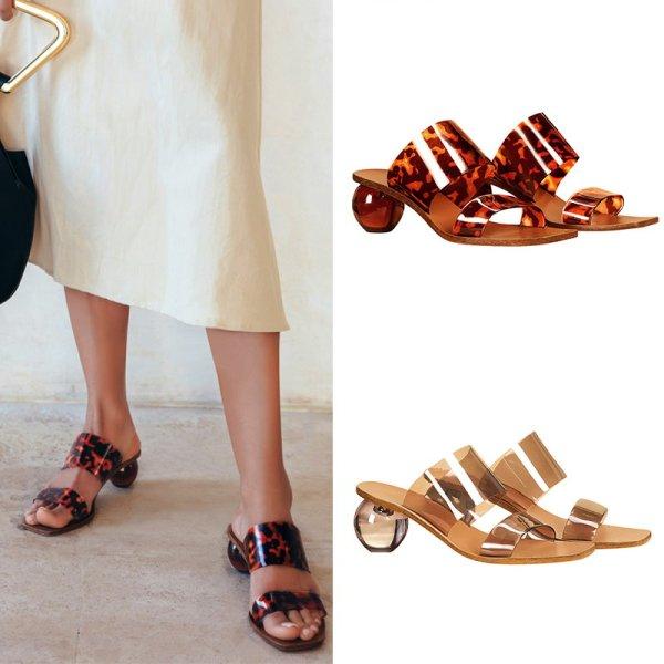 画像1: Women's PVC transparent crystal shaped with open toe word with sexy slippers Sandals クリスタルヒール サンダルスリッパ シューズ・靴 レディース 女性用 シューズ  (1)