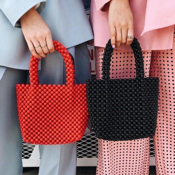 画像1:    handmade beaded black& red small pearl crowd hand bag ブラック&レッドパールハンドメイドトートショルダーハンドバック (1)