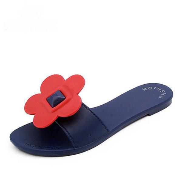 画像1: Women's Beach sandals Tong with flower slippers  sandals  くるくる回る大きな花がポイントのビーチサンダル フラット サンダルスリッパ シューズ・靴 レディース 女性用 シューズ  (1)