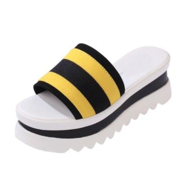 画像1: Women's wedge with casual platform sandals slippers  プラットフォーム厚底オープントゥ カジュアルサンダル スリッパ シューズ・靴 レディース 女性用 シューズ  (1)