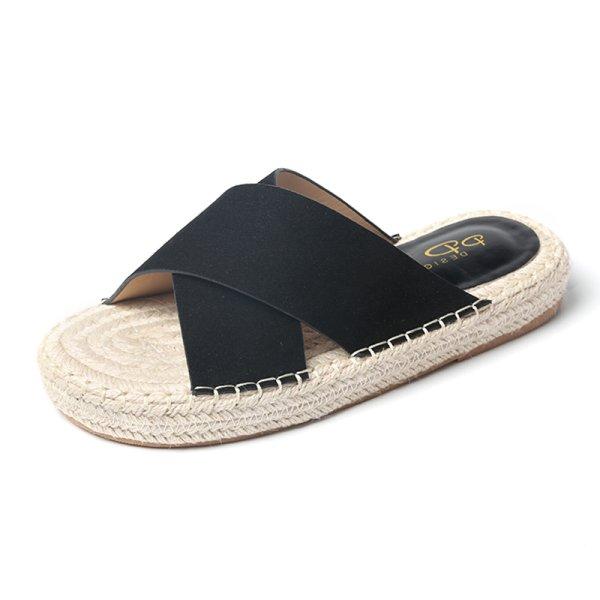 画像1: Women's Espadow  fisherman sandals Flat sandals slippers   エスパドリーユ オープントゥ フラット サンダル スリッパ シューズ・靴 レディース 女性用 シューズ  (1)