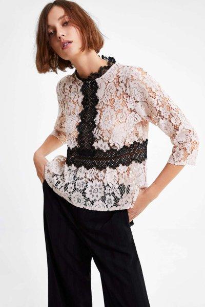 画像1: women's  stitching lace collar shirt 7部袖丈レースブラウス プルオーバー (1)