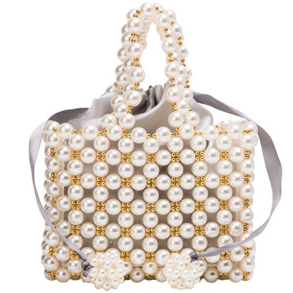 画像1: paragraph hand-woven pearl heavy duty beaded bag handbag tote bag ハンドメイドパール&ビジュートートハンドバック (1)