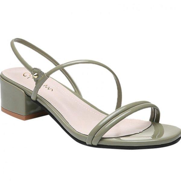 画像1: Women's buckle fairy simple sandals   シンプル太目ヒールサンダル シューズ・靴 レディース 女性用 シューズ  (1)
