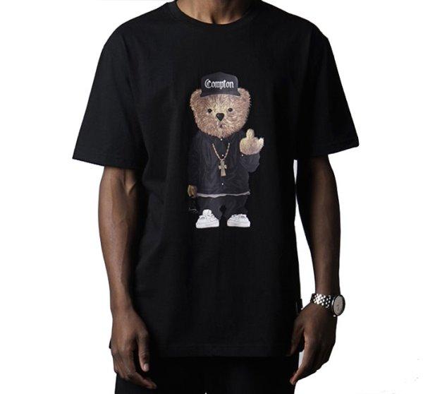 画像1: Men's Compton bear Prin Short Sleeve T-Shirt  コンプトンベアプリント半袖Tシャツ 男女兼用 (1)