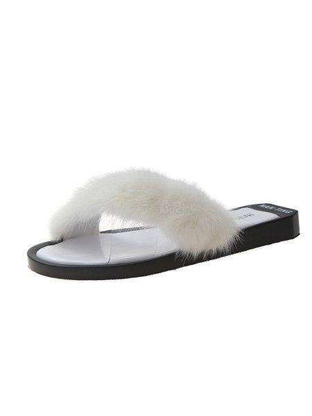 画像1: women's  wild flat transparent cross sandals slippers ファー付きフラットサンダルスリッパ サボ (1)