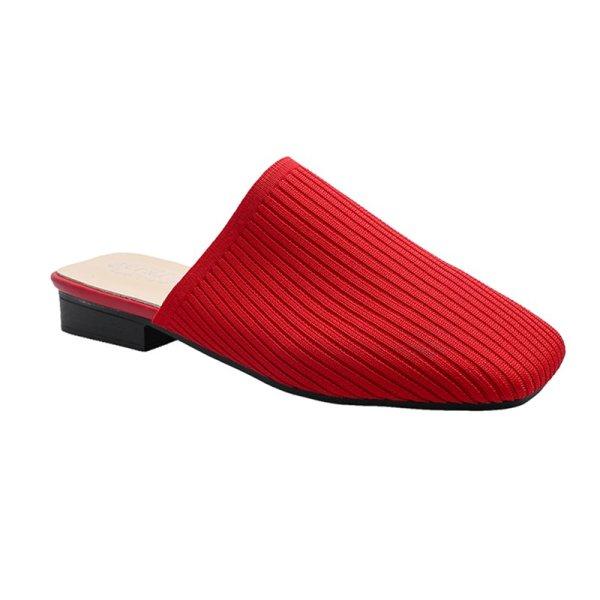画像1: women's  Baotou half slippers sandals フラットニットスクエアヘッドサンダルスリッパ サボ (1)