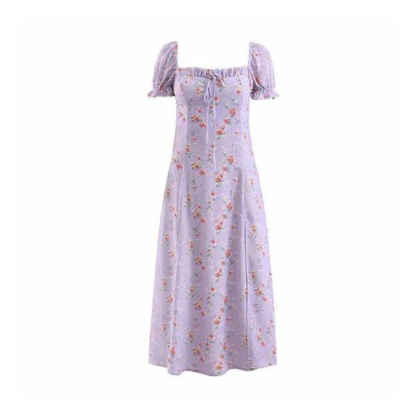 画像1:  Women's  French retro small floral light purple split dress long dress フローラルロング マキシ丈ドレス ワンピース ボヘミアン (1)
