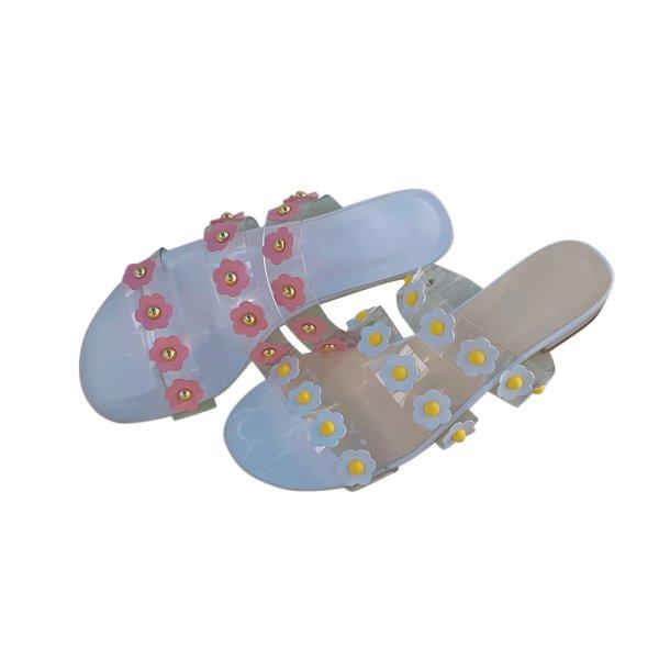 画像1: women's  transparent fashion flower flat  sandals and slippers フラワー付きフラットクリアサンダル スリッパ サボ (1)