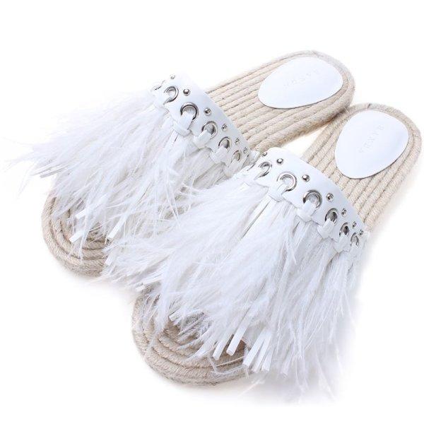 画像1: women's FairyOpen-toe ostrich feathers wear slippers flat sandals フェザー羽根つきエスニックボヘミアンフラットエスパドリーユサンダル スリッパ サボ (1)