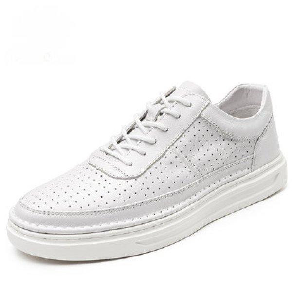 画像1: men's casual breathable sneakers shoes レースアップベーシックレザーホワイトスニーカー キャンバスシューズ  (1)