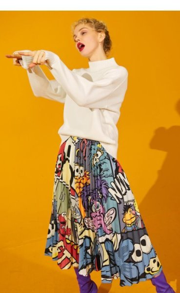 画像1: Women's comic cartoon Sesame Street printed pleated skirt セサミストリート膝丈プリーツスカート (1)