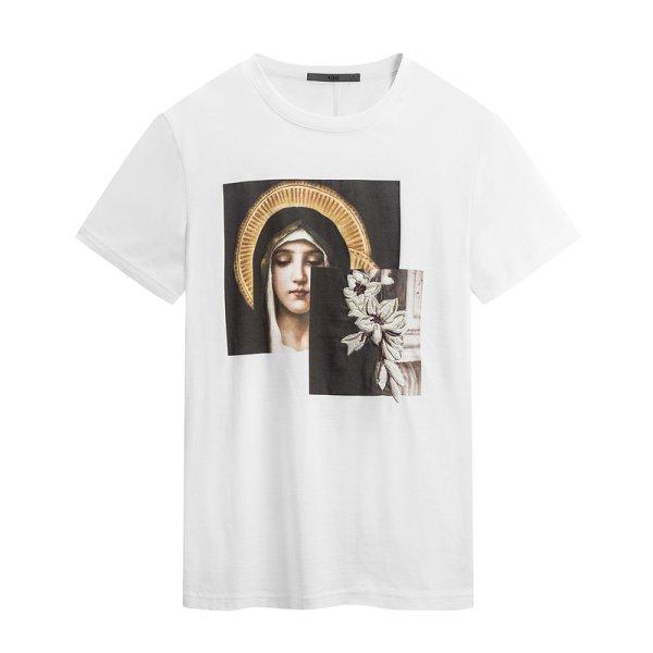 画像1:  street fashion round neck short-sleeved T-shirt  プリントストリートファッションラウンド半袖Tシャツ  (1)