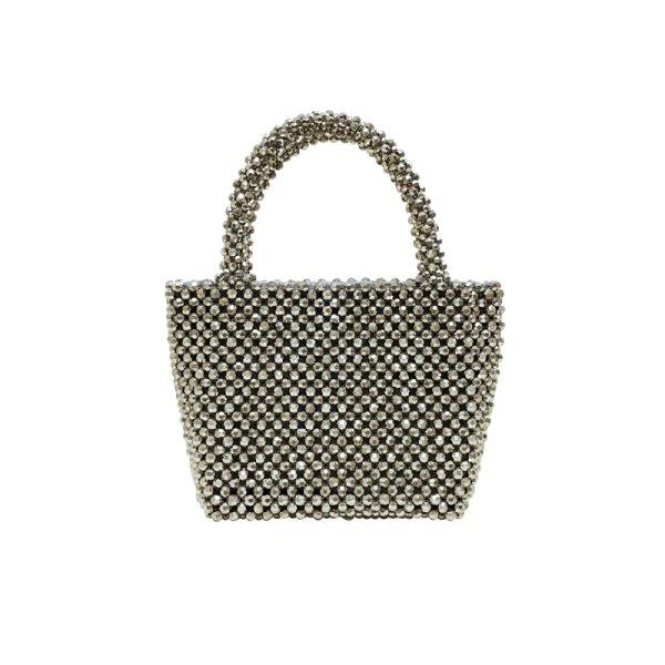 画像1: silver beaded bag hand-woven bag tote  bagハンドメイドビーズトートハンドバック (1)