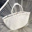 画像4:  woven basket child handbag tote  bagスタイリッシュレザー編みこみメッシュ籠かごトートハンドバック (4)
