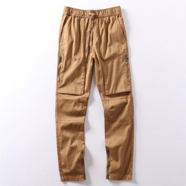 画像1: MEN'S solid color terry shorts sports pants メンズストリートジップ付きカジュアルパンツ (1)