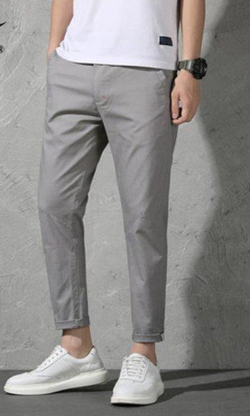 画像1: MEN'S Slim nine pants メンズ9分丈カジュアルコットンパンツ チノパン (1)