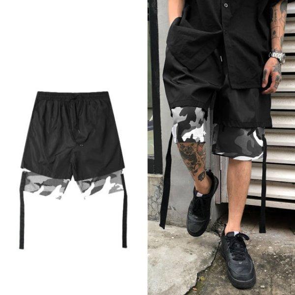 画像1: MEN'S  five points camouflage pants メンズ5分丈カモフラージュ迷彩カジュアルパンツ 大きなプラスサイズあり (1)