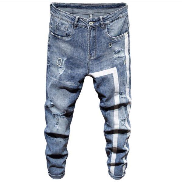 画像1: men's Stretch jeans  new feet jeans ホワイトライン入りダメージジーンズ デニム パンツ (1)