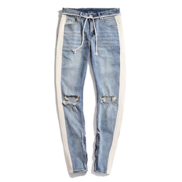 画像1: MEN'S party denim pants male nightclub ripped jeans Pants メンズサイドラインダメージデニムジーンズパンツ  (1)
