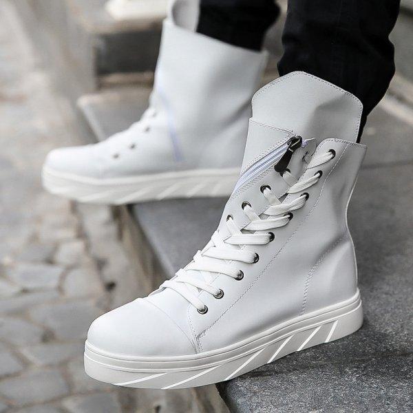 画像1: Men's High-cuts shoes sneakers boots メンズ ギリス調ハイカットレザースニーカー ブーツ ロング 編み上げ (1)