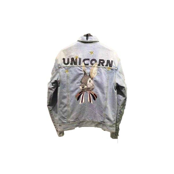 画像1:   Men's washed Rabbit embroidery quilted denim jacket  coat メンズ ユニセックス男女兼用ラビットピーターラビットウサギ刺繍デニムGジャン ジャケット コート (1)