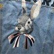 画像3:   Men's washed Rabbit embroidery quilted denim jacket  coat メンズ ユニセックス男女兼用ラビットピーターラビットウサギ刺繍デニムGジャン ジャケット コート (3)